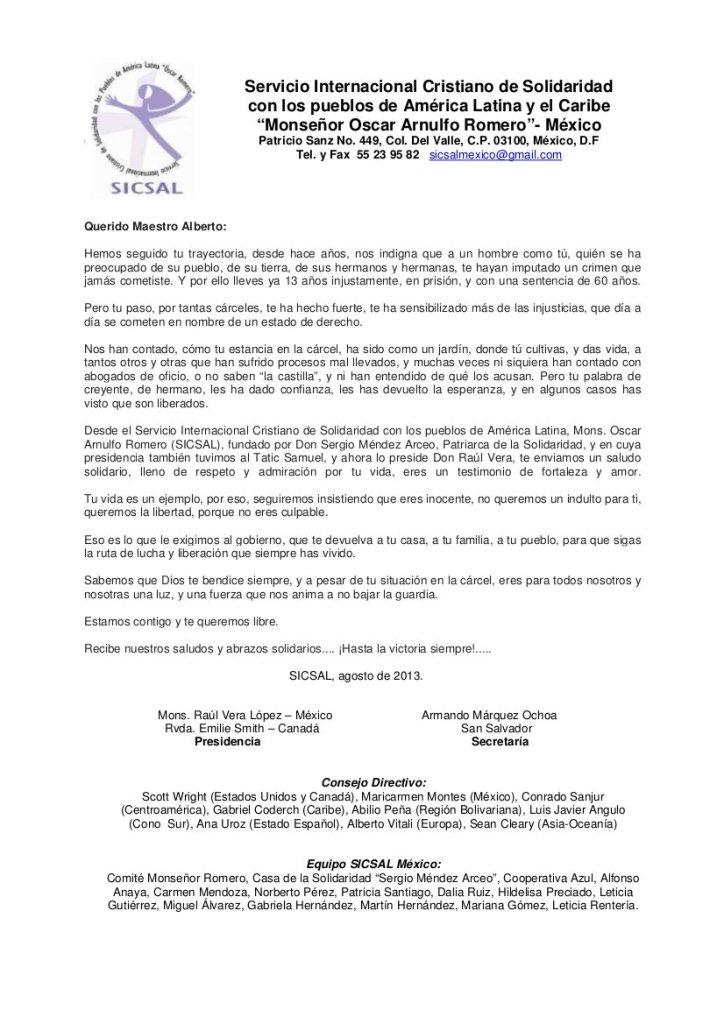 Carta de SICSAL a Alberto Patishtán _agosto 2013